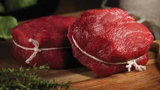raw filet mignon from bison meat