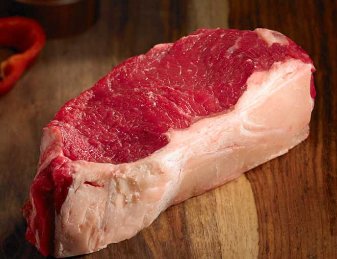 raw striploin bison steak